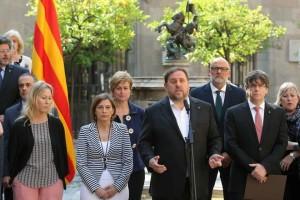 Todo el gobierno de la Generalitat anuncia el referéndum ilegal para el 1 de octubre.